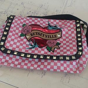 Betseyville black& pink checkered shoulder bag